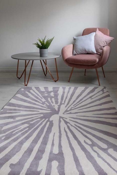 woven edge lilac rug