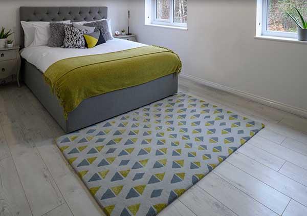 Woven Edge rug yellow grey