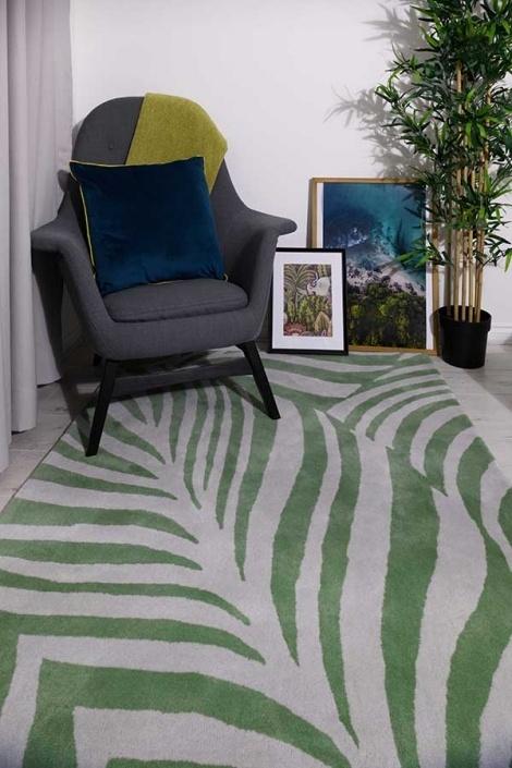 Woven Edge rug blue green