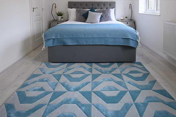 Woven Edge rug blue grey