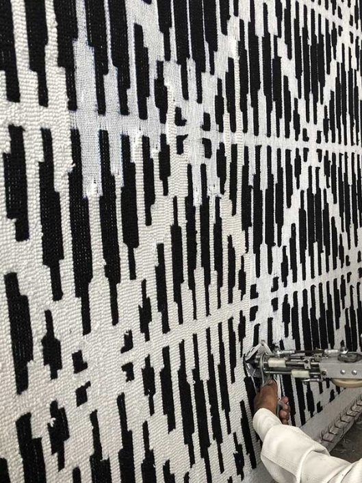 Woven Edge rugs being made