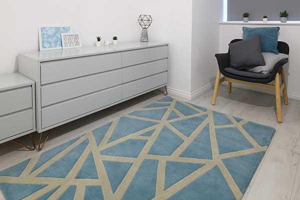 Woven Edge rug blue