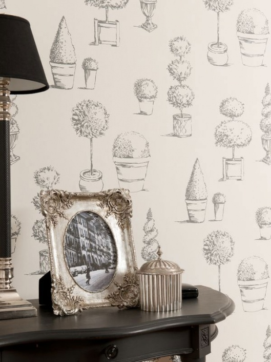 Topiary Charcoal Clarisse Wallpaper